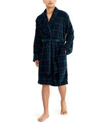 club room men's plaid plush robe, created for macy's