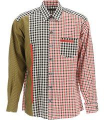 dolce & gabbana oversized gingham patchwork shirt