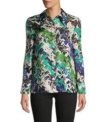 abstract-print silk shirt