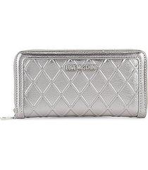 metallic quilted zip-around wallet