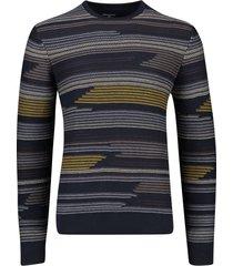 state of art trui donkerblauw geel geprint