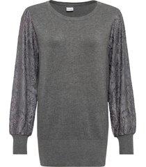 maglione con maniche di pizzo (grigio) - bodyflirt