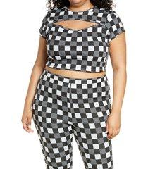 plus size women's bp. cutout crop tee, size 4x - black