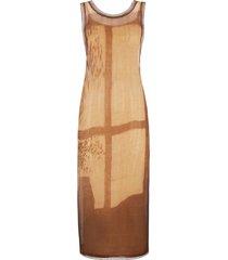 fendi tie-dye open knit detail dress - brown