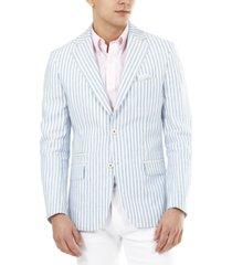 tallia men's slim-fit blue stripe blazer