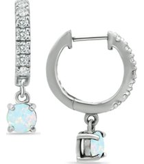 cubic zirconia dangle drop huggie hoop earring in sterling silver or 18k gold over silver (also available in lab created opal)