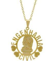 gargantilha horus import engenharia cívil banhada ouro 18k feminina