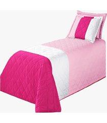 cobre leito mozart kit colcha solteiro 3 peã§as pink - multicolorido - dafiti