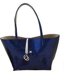 bolso fe style creative reversible para dama - azul brillante - dorado