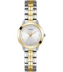 guess women's casual/dress with two tone detailing stainless steel bracelet watch 30mm case