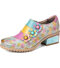 socofy retro bloom polychromatic embossed flower splicing floral vera pelle pompe