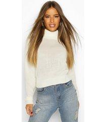 petite roll neck crop sweater, ecru