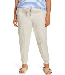 plus size women's caslon tie waist linen joggers, size 24w - beige