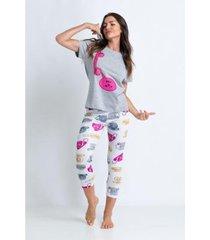 conjunto de pijama acuo estampado-alô alô! feminino