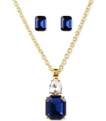 "charter club gold-tone montana crystal stud earrings & pendant necklace set, 17"" + 2"" extender, created for macy's"
