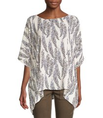 karen kane women's leaf-print layered scarf top - print - size xs