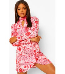 bloemenprint mini jurk met hoge kraag en pofmouwen, pink