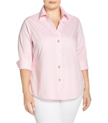 plus size women's foxcroft paityn non-iron cotton shirt, size 16w - pink