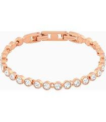braccialetto tennis, bianco, placcato oro rosa
