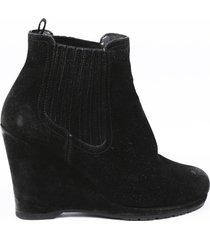prada sport black suede wedge booties black sz: 6