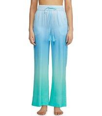 badgley mischka women's dégradé silk pajama pants - pink coral - size m