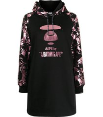 aape by *a bathing ape® graphic-print hooded shift dress - black