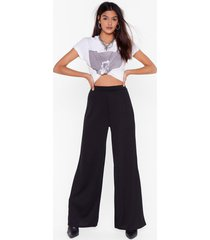 womens black high-waisted and wide-leg pants