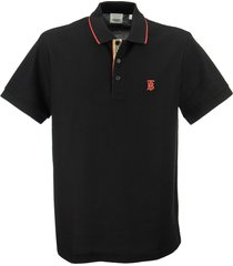 burberry walton - cotton pique polo shirt with iconic stripe motif on front panel