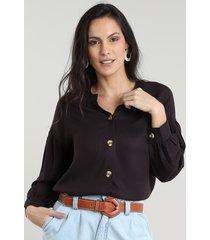 camisa feminina com botões manga bufante preta
