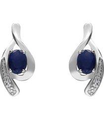orecchini a lobo in oro bianco con zaffiri 0,5 ct e diamanti 0,0066 ct per donna