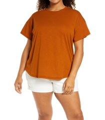 plus size women's madewell sorrel whisper ringer t-shirt, size 3x - brown