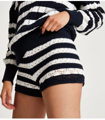 river island womens navy crochet stripe shorts