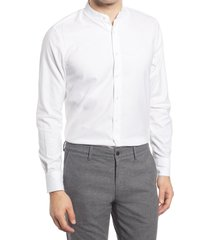 men's suitsupply extra slim fit band collar dress shirt, size 15.5r - white