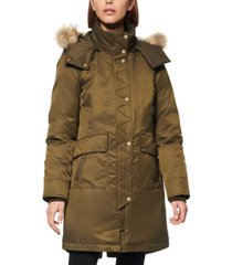 andrew marc fur-trim hooded down parka coat
