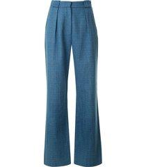 bec + bridge sebastian slub wide-leg trousers - blue