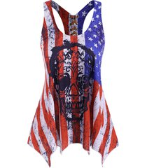distressed american flag skull print lace-up racerback tank top