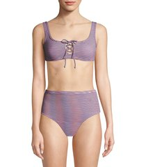 onia women's erin striped bikini top - rose multi - size xs