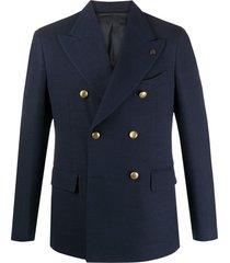 gabriele pasini blazer com abotoamento duplo e broche - azul