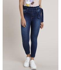 calça jeans feminina sawary clochard cropped cintura alta azul escuro
