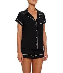 women's eberjey gisele shorty pajamas, size medium - black