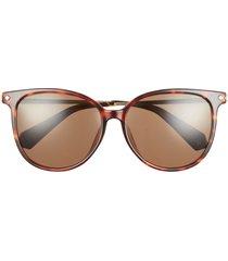 polaroid 58mm international fit polarized cat eye sunglasses in havana/bronze polarized at nordstrom