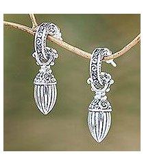 sterling silver dangle earrings, 'balinese walnut' (indonesia)