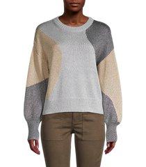cinq à sept women's colorblock pullover sweater - grey - size l