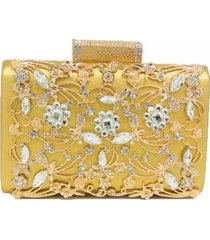 bolsa clutch liage pedraria brilhante, cristais e metal dourado