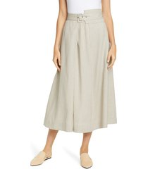 women's fabiana filippi belted stretch linen & cotton midi skirt, size 2 us / 38 it - beige