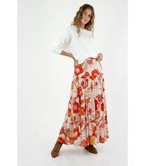 falda de mujer, diseño maxi de tiro alto con boleros y estampado de hongos y flores