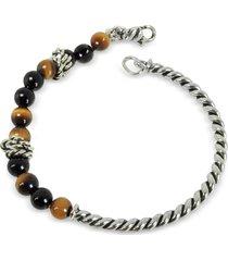 giacomo burroni designer men's bracelets, twisted silver bangle w/beads