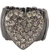 anel armazem rr bijoux coração cravejado grafite - feminino