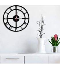 relógio de parede decorativo premium números romanos vazado preto ônix médio