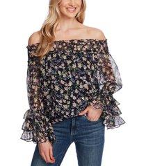 cece floral-print smocked off-the-shoulder top